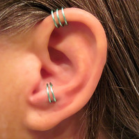 "Sale 2 Cuffs No Piercing 1 Helix Cuff Ear Cuff ""Triple Loops""  & 1 Anti Tragus Cuff ""Simple Loops"" Aqua"
