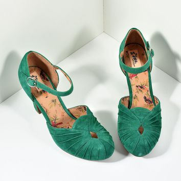 Miss L Fire 1940s Style Emerald Green Suede Keyhole Amber Heels