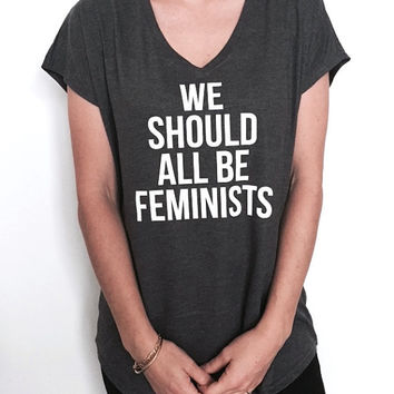 we should all be feminists Triblend Ladies V-neck T-shirt women girl ladies feminism slogan feminist