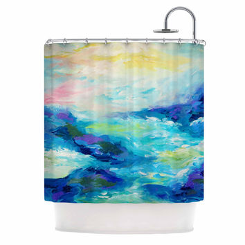 "Ebi Emporium ""Taken By The Undertow"" Green Blue Shower Curtain"
