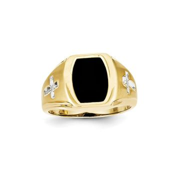 10k Yellow Gold Onyx & Diamond Mens Cross Ring - Religious Jewelry