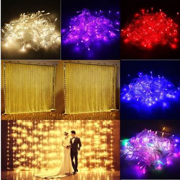 300 Lights String 110V 10W Window Curtain Icicle Wedding Party Decoration Fairy Light Led Home Garden Fairy String Light