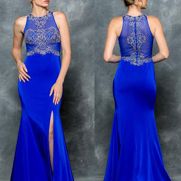 Colors 1679 Beaded Sheer Halter Top with Leg Slit Prom Evening Dress