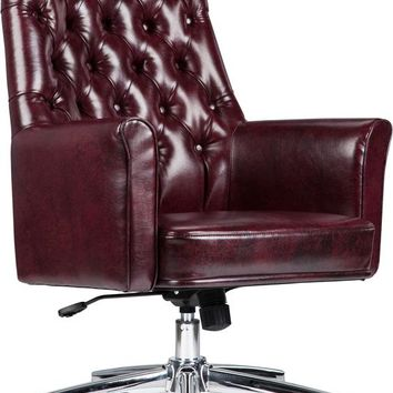 Mid-Back Traditional Tufted Burgundy Leather Executive Swivel Office Chair with Arms [BT-444-MID-BY-GG]