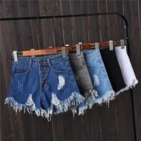 High Waist Hole Summer Casual Short Jeans Button Tassel Mini Sexy Women Shorts Solid Plus Size Slim Wild Ladies Denim Shorts New