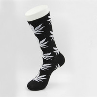 Marijuana Weed Leaf Printed Cotton Long Socks (Black - White)