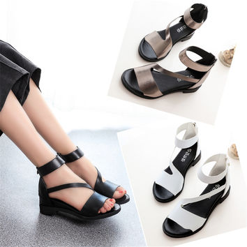 Hot Selling Women Fashion Simple Sandals Women Gladiator Strappy Wedge Heel Shoes Summer Platform Sandles Sexy Women Pumps