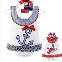 Baby Girl Boat Anchor Sailor Lace Dress Romper