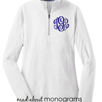 Monogrammed Microfleece Quarter Zip | WHITE Fleece Pullover | Preppy Women's Ladies' Half Zip Fleece  | 6 Colors | Mad About Monograms