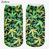 Zohra 1 pair Weed Plant 3D Graphic Full Printing Calcetines Women's Ladies Meias Causal Low Cut Ankle Sock Cotton Hosiery