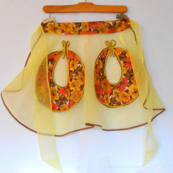 Vintage half Apron in Yellow Organza with Autumn colored trim / pockets
