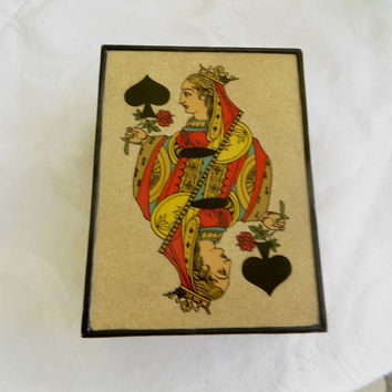 Queen of Spades Enamel Box, Vintage Playing Card Box, King of Hearts, Metal Card Holder
