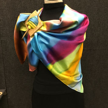Rainbow Mix - Hand Painted Silk Scarf