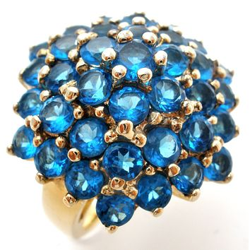 Blue Sapphire Gold over Sterling Silver Cluster Ring Size 5
