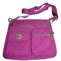 Baggallini Sydney Crinkle Nylon Fuschia Cross Body Bag
