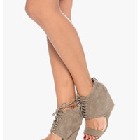 Gray Ankle Strap Wedges