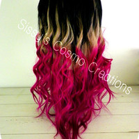 "12"" Ombre Dip Dye Clip In Human Hair Extensions Pink Purple Blonde Magenta Delight"