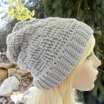Gray Basket Weave Slouchy Hat