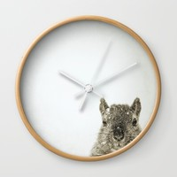 PEEKING SQUIRREL - Old Friends Collection Wall Clock by Christina Lynn Williams