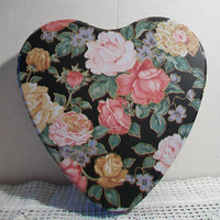 Black Heart Roses Tin Floral Container Flower Valentine's Day Home Decor