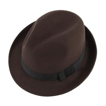 5 Colors Autumn Winter Warm Felt Hats For Men Casual Solid Jazz Caps Gangster Trilby Cap Church Male Wool Fedora Hat