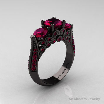 14K Black Gold Three Stone Black Diamond Raspberry Red Garnet Solitaire Ring R200-14KBGRRG