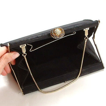 Vintage Antique Purse 1940's Little Black Bag Gold Trim Use Repair Up-cycle Recycle