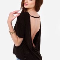 Casual Black Backless T-Shirt