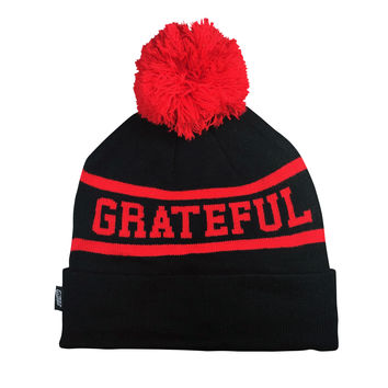 GRATEFUL 2T Beanie, Black/Red