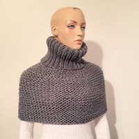 Hand Knitted Witer Cowl/ Handmade Grey Neckwarmer/ High Fashion Cowl