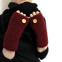 Dark Red Open Gloves, Knit Fingerless Mitt, Wool Hand Warmers, Red Wrist Warmers, Chunky Texting Glove, Crochet Open Mittens, Typing Gloves