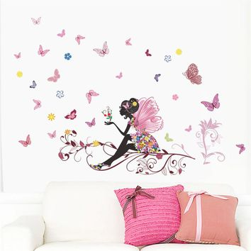 Flower Fairy pink colorful tree branch butterfly home decal wall sticker girl women bedroom diy kids room nursery party mural