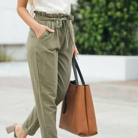 Riley Olive Tapered Pants