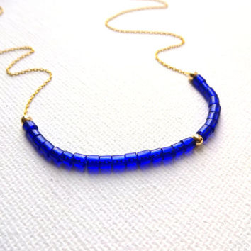 14k Gold Fill and Vintage African Trade Bead Venetian Glass & 14k Gold Fill Chain - Cobalt Blue and Gold Color Block Necklace