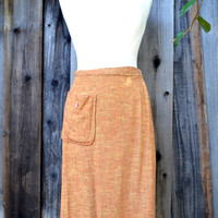 Vintage Wraparound Skirt, Golf-a-Rounds by Louise Suggs, New Old Stock, Orange Rayon Blend Tweed, Size M, circa 1960s