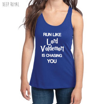 Harry Potter Inspired Fitness Clothing - Run Like Lord Voldemort is Chasing You Semi-Fitted Racerback Tank - Ladies