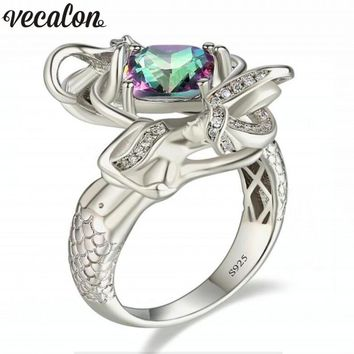 Vecalon Dropshipping 9 colors Birthstone Mermaid ring 5A zircon Crystal 925 Sterling silver Filled wedding rings for women men
