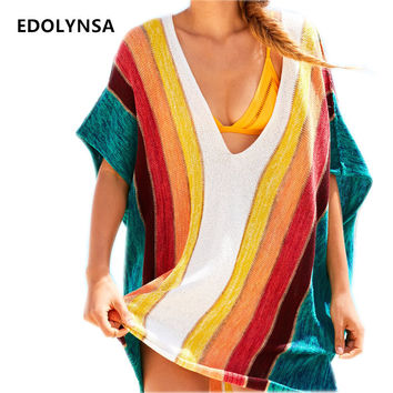 New Arrivals Sexy Beach Cover up Striped Crochet Robe de Plage Pareos for Women Swimwear Saida de Praia Beachwear Coverups #Q228