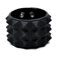 3 Row Black Pyramid Stud Rubber Wristband Vegan Friendly