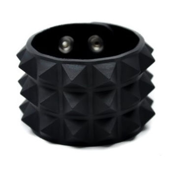 3 Row Black Pyramid Stud Rubber Wristband Vegan Friendly Metal