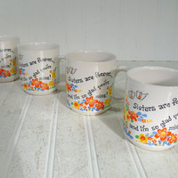 Groovy Boho Flowers Set of 4 Ceramic Matching Mugs - Vintage Coffee Cups Collection of 4 - Sisters Are Forever with Orange & Yellow Daisies