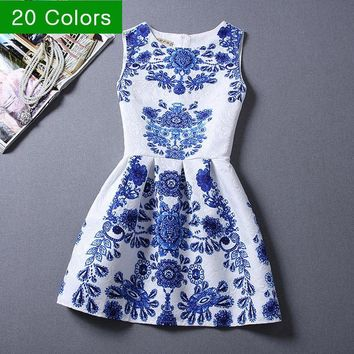 Vestidos 20 Style New Women's dress Fashion Casual Sleeveless Mini print Summer dresses Plus size Vintage party dress