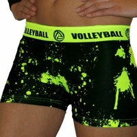 Volleyball Highlighter Yellow Splat Printed Flip Waist-Band Spandex Compression Shorts
