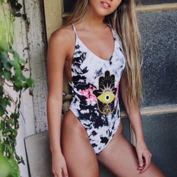 Fashion Sexy V-neck Bikini Print One-Piece Swimsuit