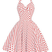 Women's Vintage Summer Dress  Polka Dots Print Halter Sleeveless Vintage 50s 60s  Pinup Rockabilly Dress