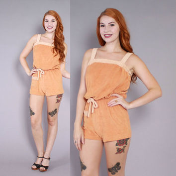 Vintage 70s ROMPER Playsuit / 1970s 2-Tone Terry Cloth Jumpsuit as Seen in Macklemore Video