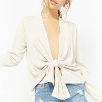 Marled Waffle Knit Tie-Front Top