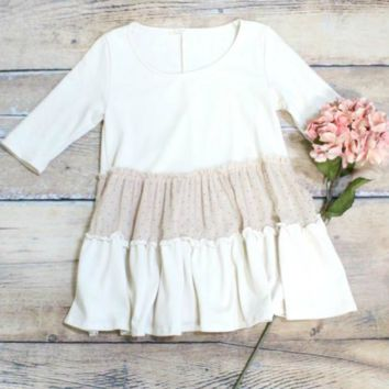 Ruffle + Dots French Terry Babydoll Top {Oatmeal}