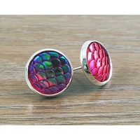 Mermaid Scales- ab red/purple mermaid/ dragon scale earrings