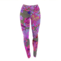 "Marianna Tankelevich ""Purple Flowers"" Pink Blue Yoga Leggings"